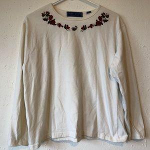 Karen Scott Collection Floral Embroider Sweatshirt